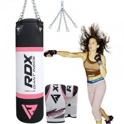 RDX X4 Saco de Boxeo Rosado con Guantes de Saco