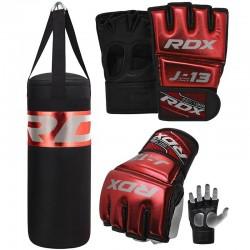 RDX J13 Set De Saco De Boxeo Y Guantes De Grappling MMA Rojos