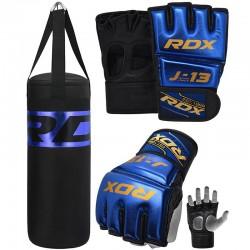 RDX J13 Azul Set De Saco De Boxeo Y Guantes De Grappling MMA