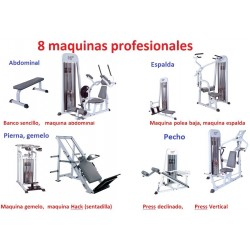 LOTE PACK GIMNASIO COMPLETO (8 MAQUINAS MUSCULACION PROFESIONAL)