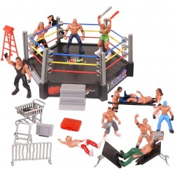 MINI RING DE WRESTLING CON 12 FIGURAS DE ACCIÓN