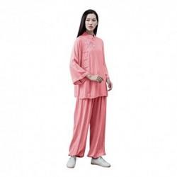 KSUA Mujeres Kung Fu Uniforme Tai Chi Traje algodón Artes Marciales Traje meditación Zen Rosado, EU M/Etiqueta L