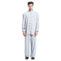 ICNBUYS Kung Fu Tai Chi Uniform - Seda de algodón para hombre, Hombre, color gris, tamaño large