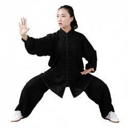 Ropa de Tai Chi con Unisexo Gong Fu Artes Marciales Trajes de Artes Marciales Ropa Completa Tops y Pantalones Delgado y Trans