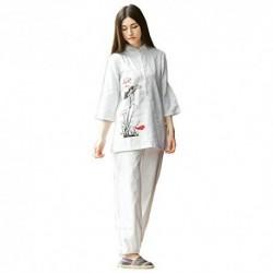 KSUA Traje de meditación Zen para Mujeres Uniforme de Tai Chi Ropa de Kung Fu de algodón y Lino Traje de Yoga, Loto EU S/Etiq