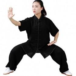 Unisex Ropa De Tai Chi Tang Traje de Artes Marciales Kung Fu Uniformes Disfraces Manga Corta Tops y Pantalones Verano
