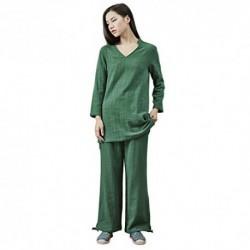 KSUA Traje de meditación Zen para Mujeres Ropa de Kung fu Chino Traje de Tai Chi Traje de Yoga de algodón Uniforme de Artes M
