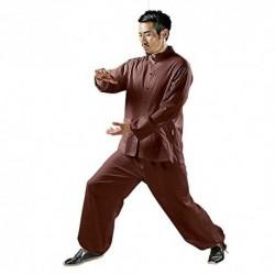 KSUA Hombres Tai Chi Uniforme Kung Fu Chino Ropa algodón para Artes Marciales Zen, Rojo Oscuro EU L/Etiqueta XL