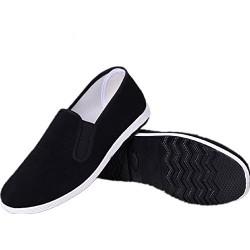 APIKA Zapatos Tradicionales Viejos Chinos de Pekín Kung Fu Tai Chi Zapatos Suela de Goma Unisexo Negro 250mm 40