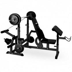 Klarfit Workout Hero 3000 Banco de musculación multifunción - Entrenamiento con Cargas guiadas, Banco de Pesas, Press de banc