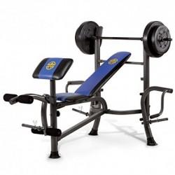 Marcy MWB-36780b para principiantes – Press de banca con barra de 35 kg - Banco de musculación completo multifunción – Curl d