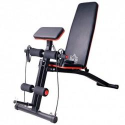 HOMCOM Banco de Mancuerna Plegable Inclinable Banco de Pesas Musculación Multifuncional para Entrenamiento Completo Máquina d