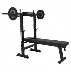 Banco de pesas profesional, multifuncional, plegable, para barra de pesas de hasta 200 kg, entrenamiento