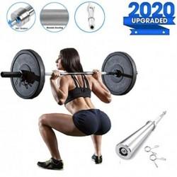 CHIYA Barra de musculación de Pesas con 2 Collares,Mangos Antideslizantes,Unisex Adulto,Barra de Entrenamiento para Biceps y
