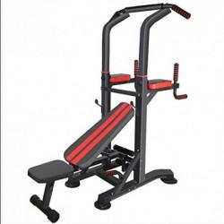 XXLHH Multiestación Máquina de Musculación, Tronco Abdominal Multifuncional con Banco Plegable y Soportes con Mancuernas: Sil