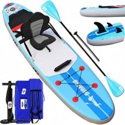 Tabla Hinchable Paddle Surf Sup Paddel Surf Bomba, Asiento de Kayak, Almohadilla integrada, Aleta Desprendible, Doble remo aj