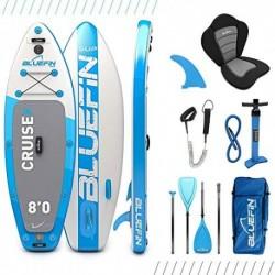 Paquete de SUP Bluefin Cruise | Tabla de Paddle Surf Hinchable | 15cm de Espesor |Remo de Fibra de Vidrio |Kit de Conversión