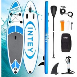 INTEY Tabla Paddle Surf Hinchable 305×76×15cm, Sup Paddle Remo Ajustable, Tabla Stand Up Paddle Board, Bomba de Doble, Seguri