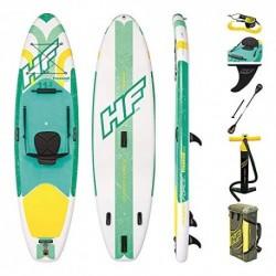 Bestway Freesoul Tech 65310 - Tabla inflable de paddle surf con remo de aluminio, blanco y verde SUP kit con correa, bomba d