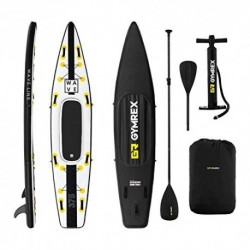 Gymrex Tabla Hinchable para Stand Up Paddle Sup GR-SPB375 Drop Stitch - PVC, Alfombrilla EVA, hasta 120 kg, Negro/Amarillo