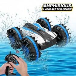 Joyjam Coche teledirigido Anfibio, Stunt Car Impermeable Anfibios con 2 Lados de conducción en Agua y Tierra Coche radiocontr