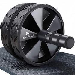 Amonax - Rodillo de rueda para abdominales con alfombrilla grande para ejercitar abdominales, doble rueda con modos de entren