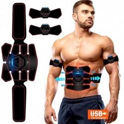 ROOTOK Electroestimulador Muscular Abdominales,Masajeador Eléctrico Cinturón con USB, Estimulación Muscular Masajeador Eléctr