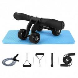 TOMSHOO - Dispositivo de fitness 5 en 1 rueda abdominal + mango de bomba + cuerda de saltar + pinza de mano + alfombrilla par