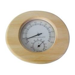 Relsuna Termómetro e higrómetro para sauna de madera maciza en forma ovalada