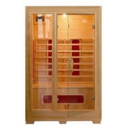 Bagno italia Sauna de infrarrojos 120 x 100 puertas de cristal con estructura de madera, dos personas
