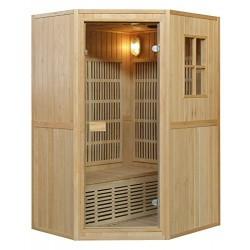 Baño Italia Sauna 125 x 110 cm biplaza infrarrojos y finlandesa combinada 6 irradiadores cromoterapia radio I1