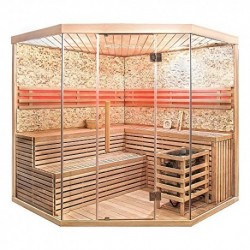 Home Deluxe – Sauna tradicional – Skyline XL Big piedra artificial pared – Madera: abeto Hemlock – Dimensiones: 200 x 200 x 2
