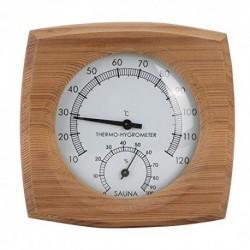 TOPINCN 2-en-1Wood Thermo-Hygrometer Termómetro Higrómetro Sala Vapor Sala Sauna Accesorios Fahrenheit