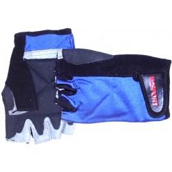 GUANTES DE GIMNASIO LICRA/PIEL azul y negro
