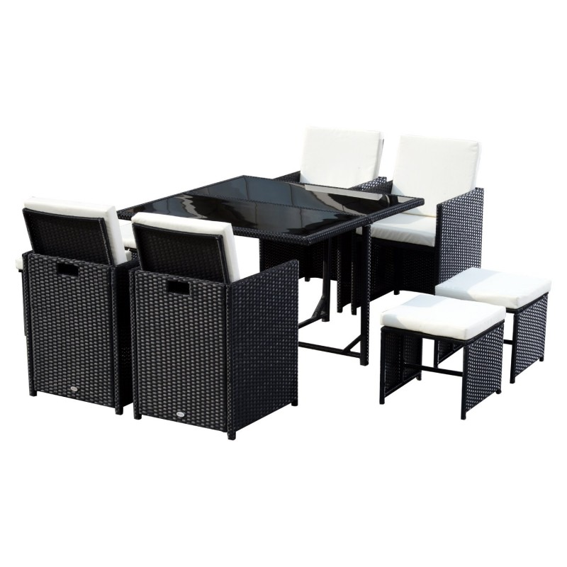 Conjunto de muebles rat n de jard n con 9 piezas for Muebles de jardin ratan pvc