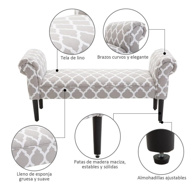 Banqueta con brazos tapizada para pie de cama tipo for Bancos para pie de cama
