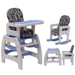 Trona multifuncional para Bebés 3 en 1 convertible en Mecedora y Mesa - Color Azul