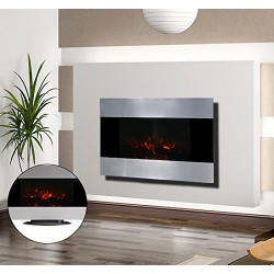 Chimenea Eléctrica de Pared con Luces LED - Color P...