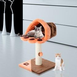 Rascador Gato Naranja y Marrón Felpa 40x40x67cm...