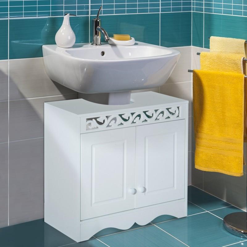 Armario de ba o bajo para lavabo con 2 puertas y es for Banos 2 lavabos