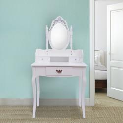 Tocador + Espejo Y Taburete Color Blanco Mueble Maqu...