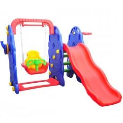 Columpio con Tobogán y Canasta de Baloncesto para Niños - Plástico - 167x164x120cm