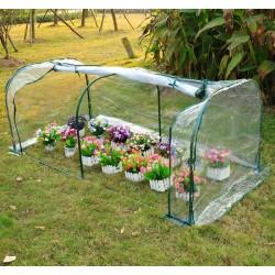 Outsunny Invernadero Transparente para Jardín o Terraza - Acero, Plástico y Polietileno - 200x100x80 cm
