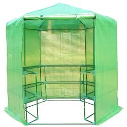 Invernadero Caseta Acero Plastico Jardin Terraza Cultivo Planta 3 Estantes NUEVO