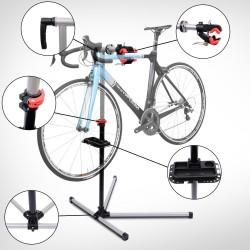 Soporte tipo Caballete para Reparación de Bicicletas - Color Negro y Plata - Acero - 100x56x190cm