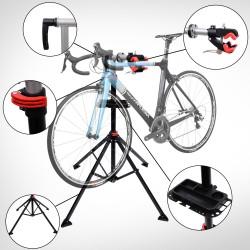 HOMCOM Kit Reparación de Bicicletas con Soporte y Bandeja - Tubo PP + Acero Q195 - 100x100x190 cm (Altura Reg. 100-190 cm)