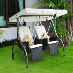 Outsunny Columpio de Jardín con 2 Asientos y Parasol - Negro y Blanco - Metal, Acero, PVC y Ratán - 185x120x180 cm