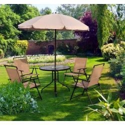 Conjunto de Muebles para Jardín o Terraza Incluye 1 Mesa + 4 Sillas + 1 Parasol - Color Crema