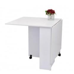Mesa Plegable de Madera con Ruedas Escritorio Estante Estanteria Blanco Cocina