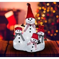 HomCom Muñeco de Nieve Familia Luz LED Decoración de Navidad 25x20x34cm con Sombrero Bufanda